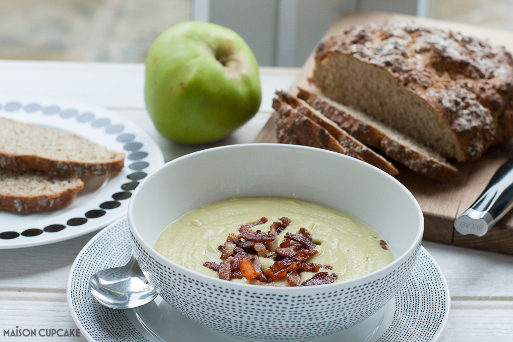 Make this warming savoury apple soup from soya beans and bramley cooking apples - it's savoury not sweet