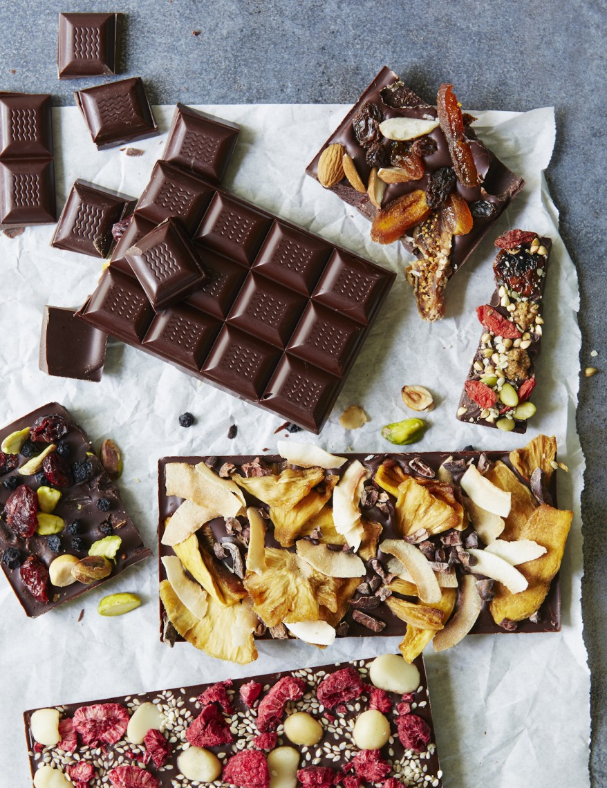 "How to make your own chocolate without flavourings, emulsifiers or powders. Rich and intense tempered glossy chocolate with a good ""snap"" when broken; make your own chocolate bars as edible gifts - recipe from Clean Cakes by Henrietta Inman"
