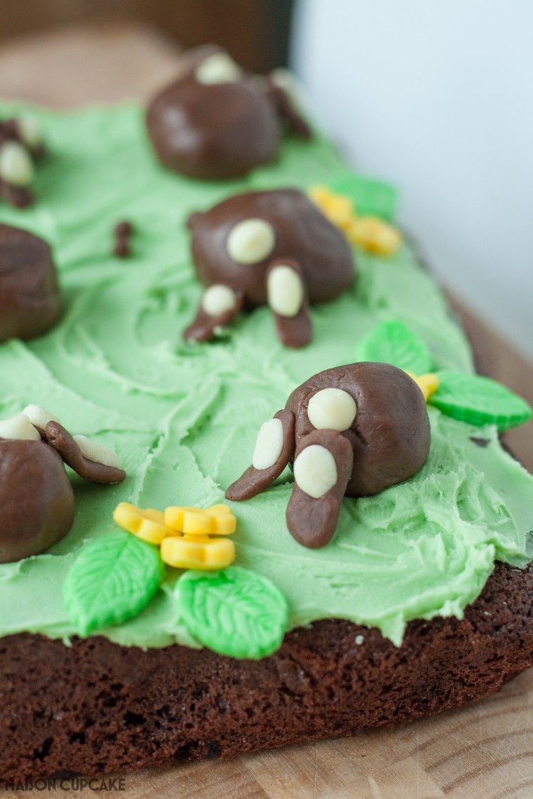 Chocolate Bunny Bum Cake Step by Step pics