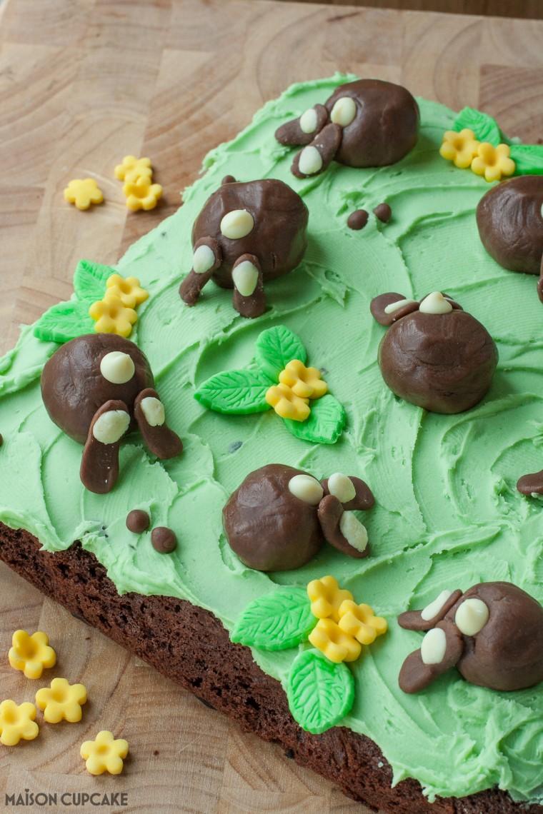 Chocolate Bunny Bum Cake Step by Step pics