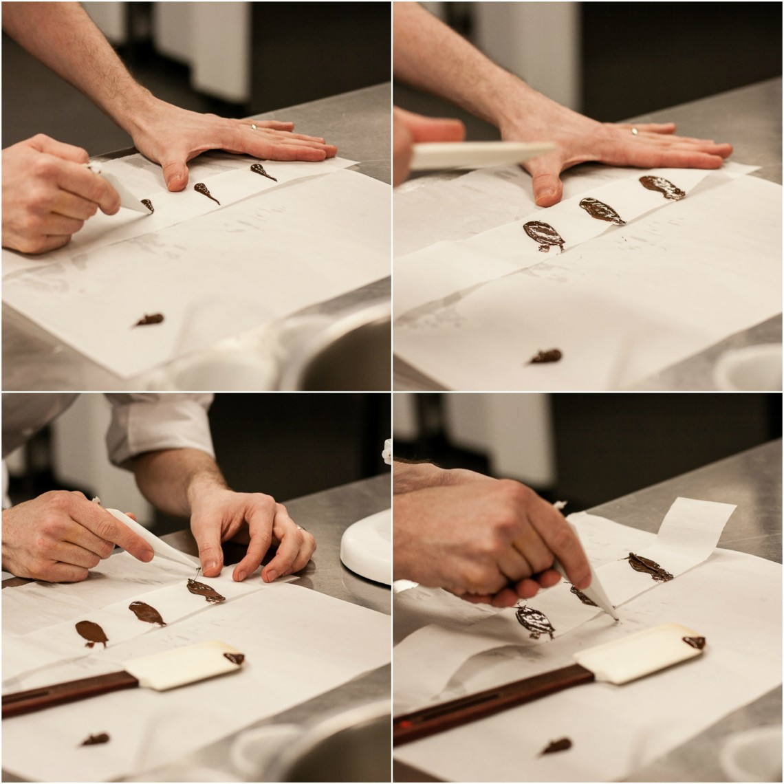 Piping chocolate feather decorations at Le Cordon Bleu London