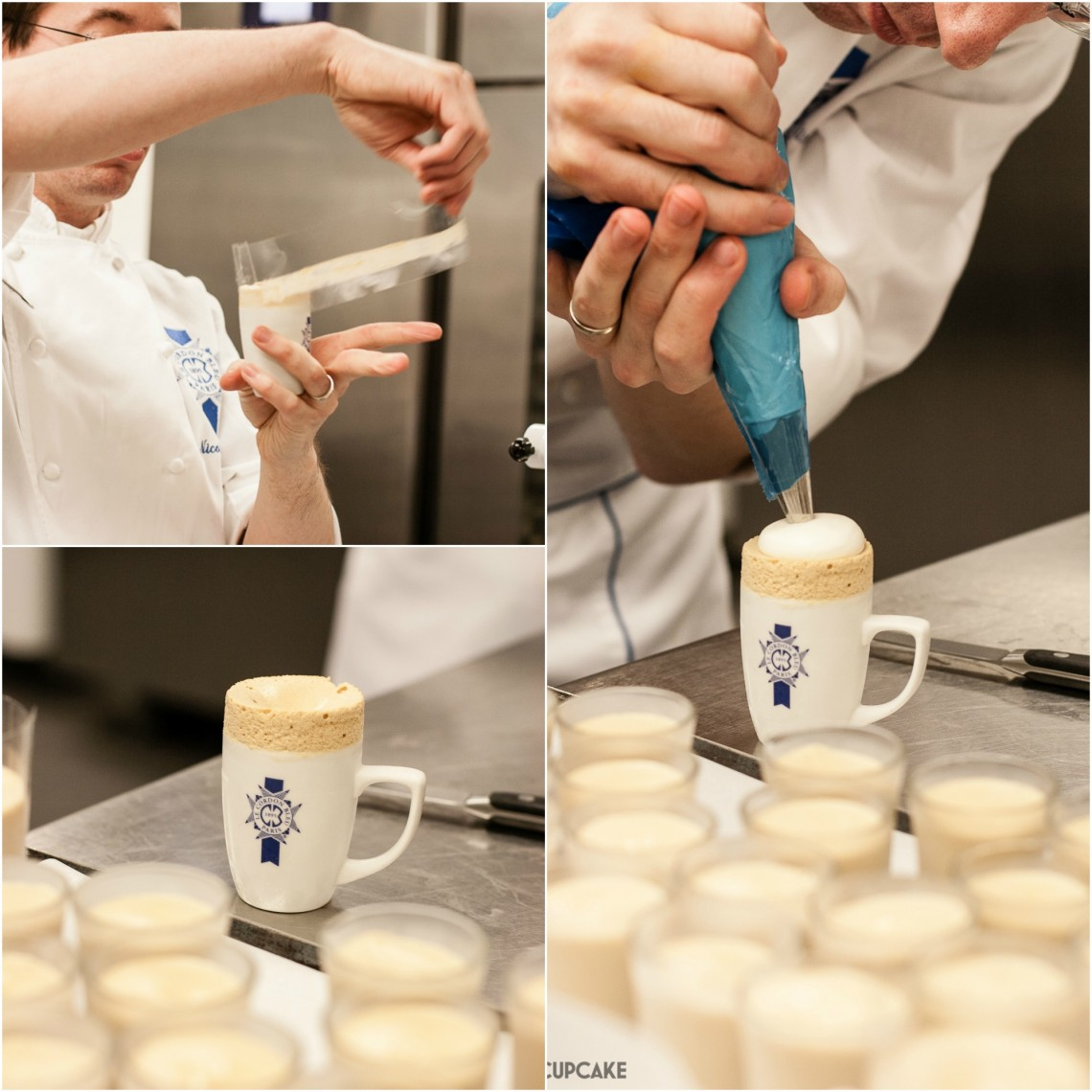 Piping iced coffee souffles at Le Cordon Bleu London