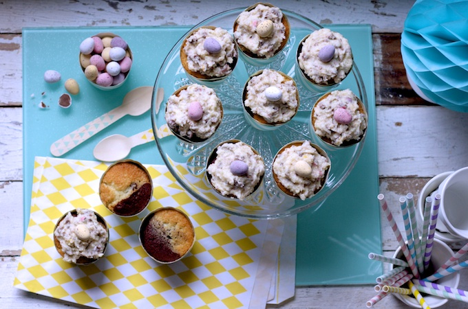 Chocolate and Vanilla Marble Cupcakes with Mini Egg Blizzard Icing