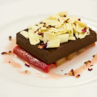Easy chocolate ganache dessert with rhubarb by Paul A Young