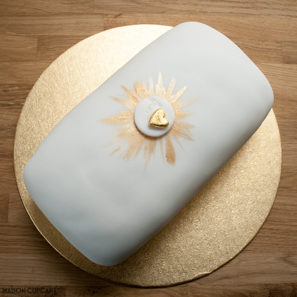 First Communion Cake with hidden chocolate sponge crucifix inside