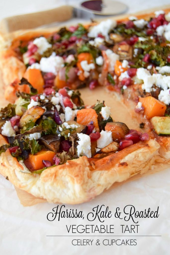 Harissa Kale Roasted Vegetable Tart by Celery & Cupcakes
