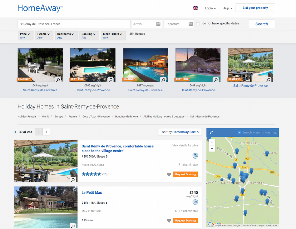 Booking holiday rentals in France through HomeAway - review