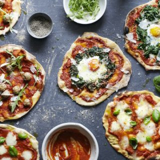 Spelt pizza dough recipe with three pizza toppings by Roger Saul of Sharpham Park
