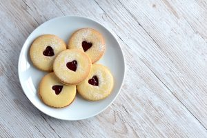 Home made jammy dodger biscuits