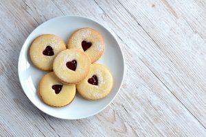 Home made jammy dodger biscuits
