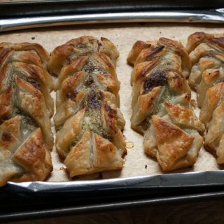 4 ingredient savoury pastries filled with salmon and pesto for a quick easy supper