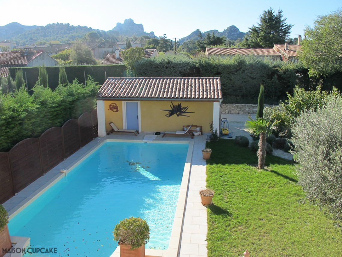 Home away from home holiday rental in St Remy de Provence France with view of Les Alpilles mini mountain range behind