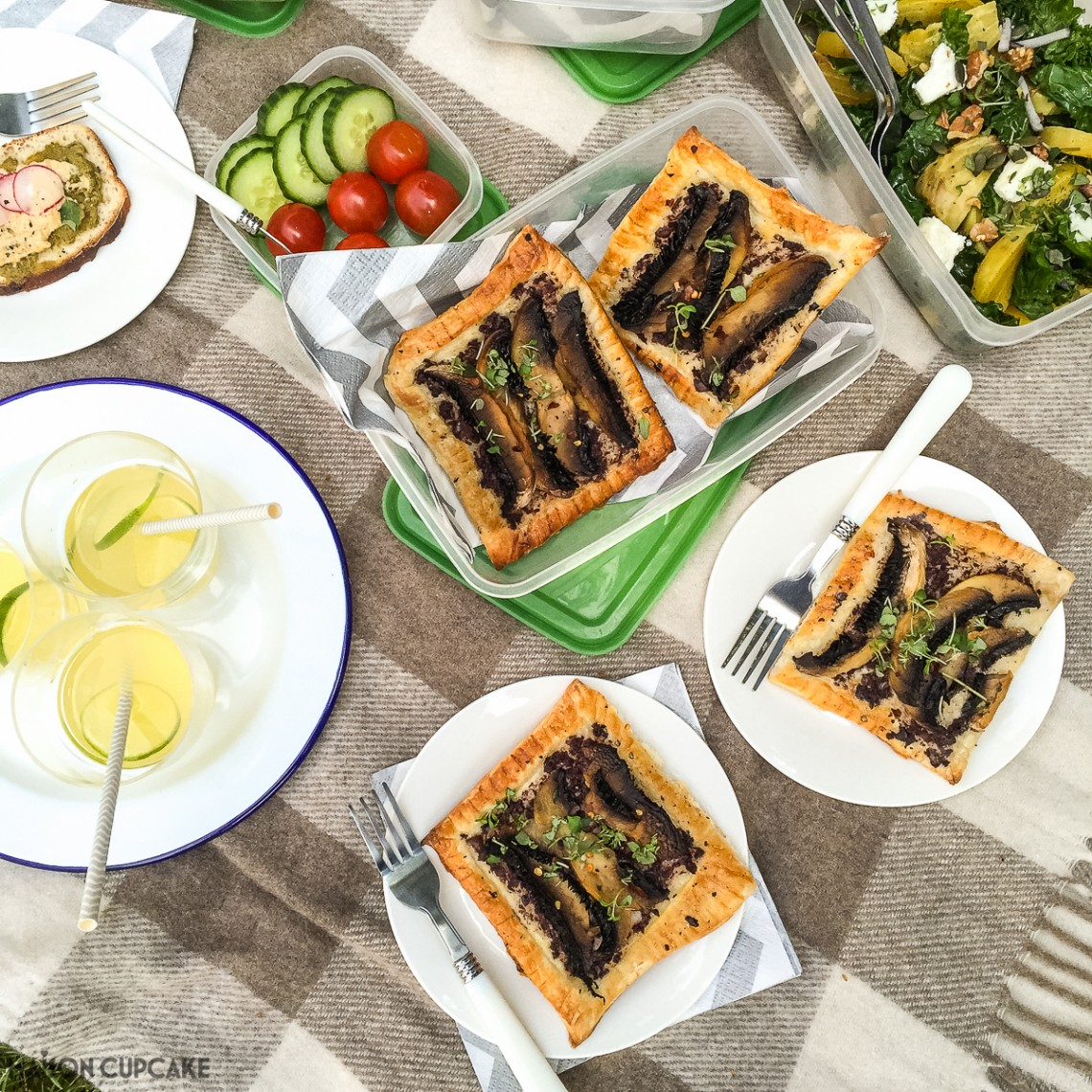Simple but tasty portobello mushroom puff pastry tarts recipe with black olive tapenade - brilliant savoury pastry for picnics, packed lunches or light suppers