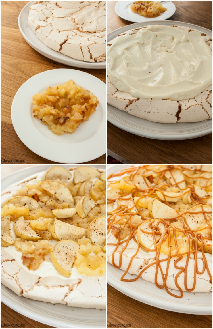 Steps making Bramley apple pavlova