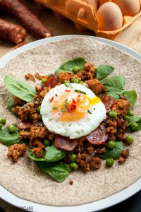 Spicy Egg Wraps with Minced Pork and Chorizo Sausage