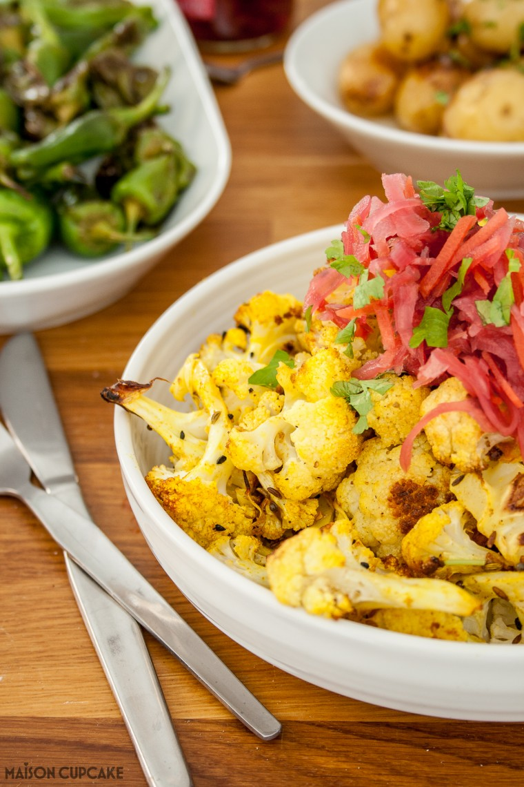 Spicy roasted cauliflower florets with Red Slaw topping
