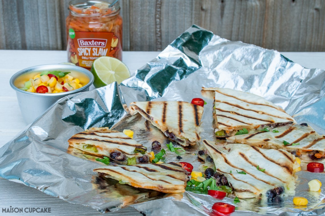 Quick and easy quesadillas stuffed with chicken and spicy slaw - veggie black bean option too
