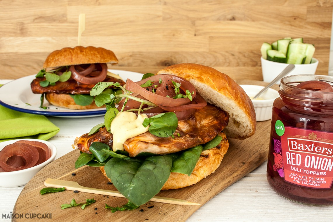 sticky salmon burgers with sweet red onion rings. Black Bedroom Furniture Sets. Home Design Ideas