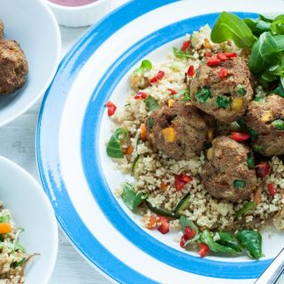 Veggie Balls with Warm Couscous Salad