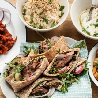 Pitta Pockets with Lamb with Sheep Yogurt Hummus and Labneh