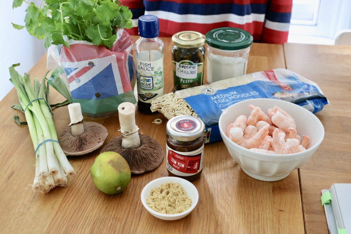 Ingredients displayed for tom yum prawn noodle soup recipe