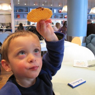 Ted holds carluccios wafer