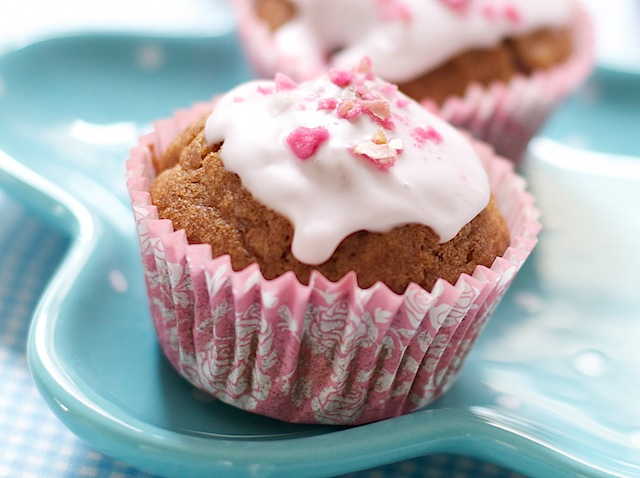 Iced Strawberry Rose Muffins