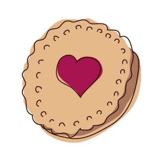Biscuit Illustration reminiscent of a Jammie Dodger
