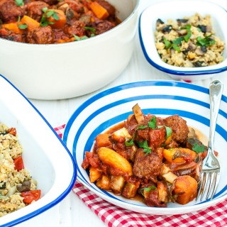 How to make easy meatball casserole Moroccan tagine style stew with couscous - full recipe at MaisonCupcake.com