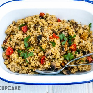 Garlic mushroom couscous in Redmond Multicooker finished recipe at Maisoncupcake.com