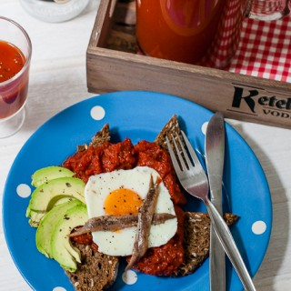 Rye toast with bloody mary topping - easy brunch dish