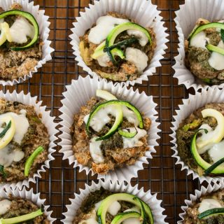 Easy to make tasty courgette muffins with herby pesto - recipe using spiralizer although you can sub with grated courgette if you don't have a spiralizer